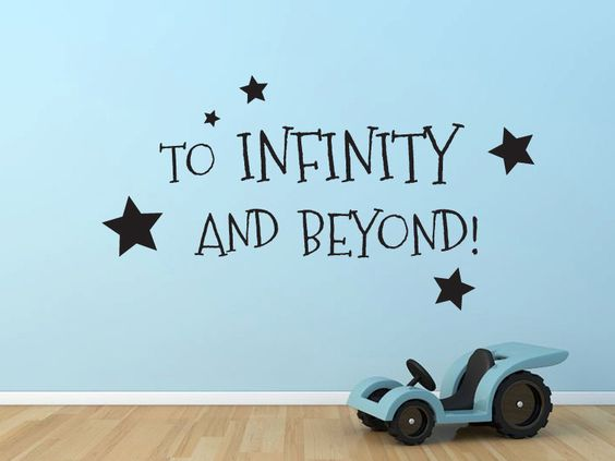 To Infinity and Beyond Buzz Lightyear Toy Story quote wall  decal. $18.00, via Etsy.
