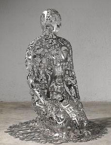 Jaume PLENSA, (b.1955), self-portrait as  Dashiell Hammett V, american writer of hard-boiled detective novels. 118 x 98 x 98 cm stainless steel (2014)