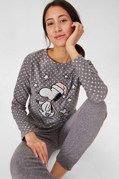 Mujer Pijama De Forro Polar Peanuts Gris Jaspeado En 2020
