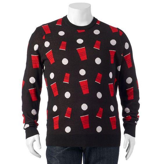 Big & Tall Patterned Sweater, Men's, Size: Xl Tall, Black