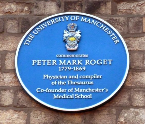Peter Mark Roget was a British physician, natural theologian and lexicographer. He is best known for publishing, in 1852, the Thesaurus of English Words and Phrases (Roget's Thesaurus), a classified collection of related words. He was a lecturer at the University of Manchester.