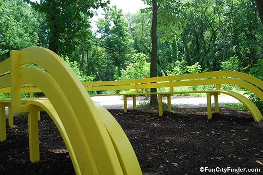 Close up of the fun yellow bunch in 100 Acre Woods.  One of many bold, colorful pieces in this area.