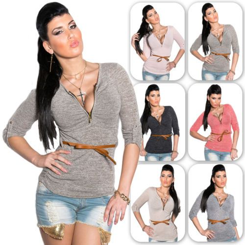 Damen-Feinstrick-Pullover-Pulli-Sweater-Sweatshirt-V-Auschnitt-32-34-36-38