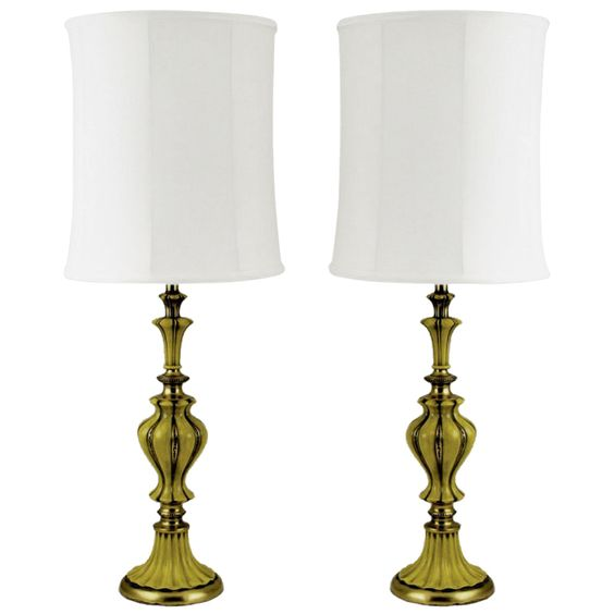 1stdibs - Pair Rembrandt Brass & Antiqued Saffron Yellow Table Lamps explore items from 1,700  global dealers at 1stdibs.com