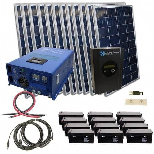 2880 Watt Off Grid Solar Kit With 10000 Watt 48 Volt Inverter Charger 120 240vac Solar Kit Off Grid Solar Solar Heating