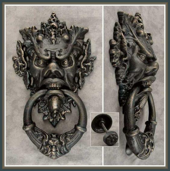 Large gothic medieval green man horned devil cast iron door knocker verdigris door knockers - Green man door knocker ...