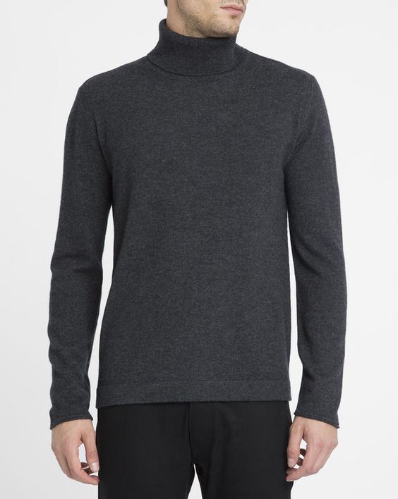 HARTFORD Charcoal Cashmere Wool Polo-Neck Sweater