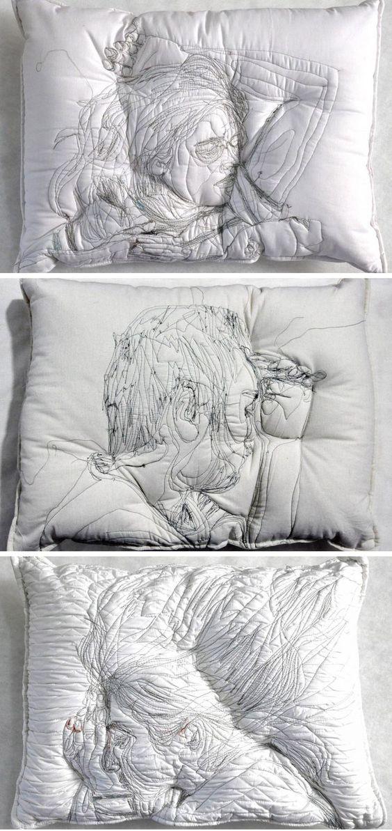 Sleep Imprint Pillow Art : Embroidered