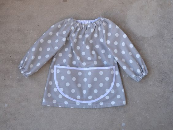 Classic Childrens Art Smock in Light Grey with White Polka Dots White Finishing 4-6 Years Tablier Enfant Maternelle Ecolier 2-4 ans by FrenchStarKids on Etsy