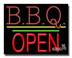 """B.B.Q Open Neon Sign - Block Text - 24""""x31""""-ANS1500-0198-1g  31"""" Wide x 24"""" Tall x 3"""" Deep  Sign is mounted on an unbreakable black or clear Lexan backing  Top and bottom protective sides  110 volt U.L. listed transformer fits into a standard outlet  Hanging hardware & chain included  6' Power cord with standard transformer  Includes 2nd transformer for independent OPEN section control  For indoor use only  1 Year Warranty on electrical components."""