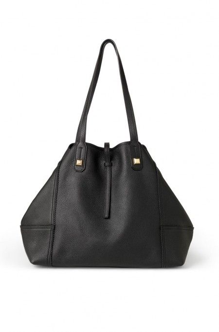 Paris Market Tote in Black by Stella & Dot. Image of textured  leather tote with roomy silhouette.: