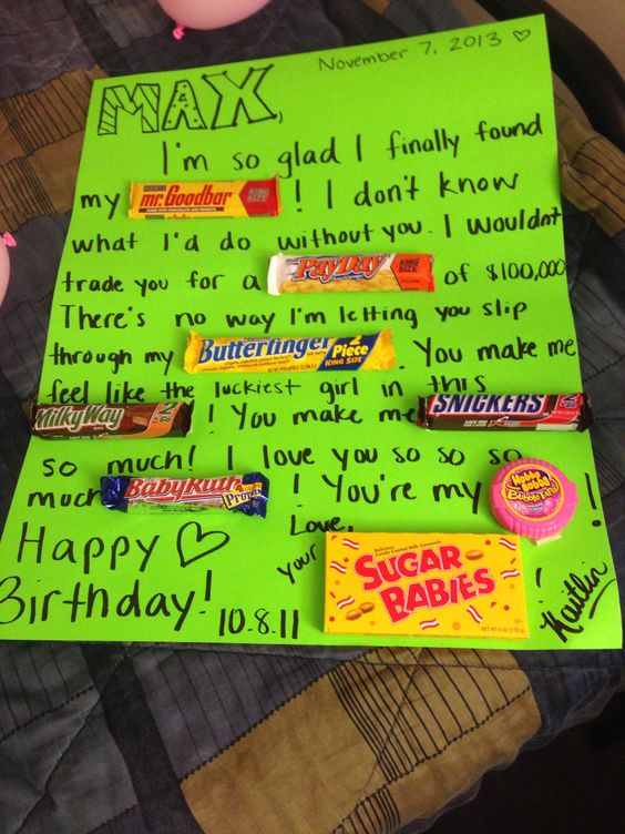 For my boyfriend on his birthday candy birthday card for Gift to give your boyfriend for his birthday