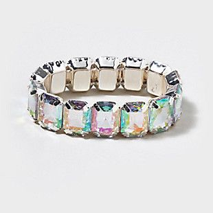 Gem Silver Back Stretch Bracelet claires