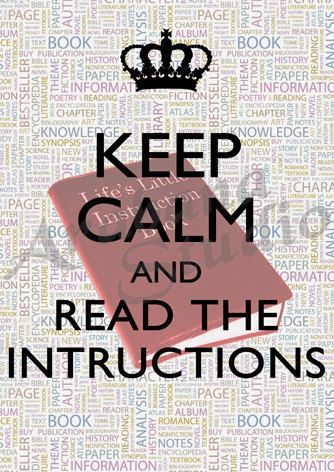Keep Calm and Read The Instructions by ArabanaStudio on Etsy