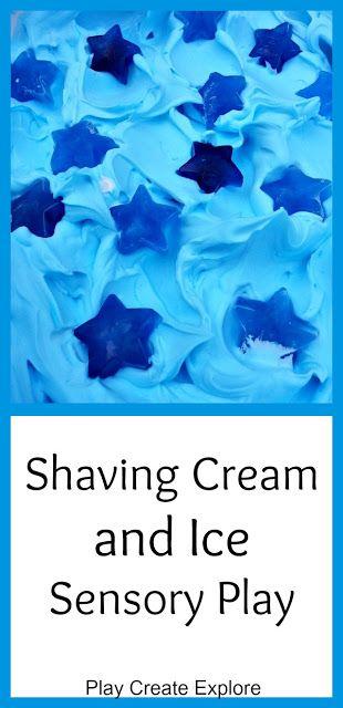 Play Create Explore: Shaving Cream and Ice Messy Sensory Play