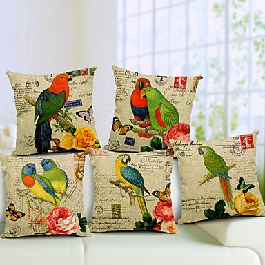 Set of 5 Parrot Pattern Cotton/Linen Decorative Pillow Cover – USD $ 67.99