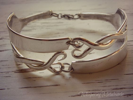 Fork tine bracelet  twisted  hearts and by WhisperingMetalworks,