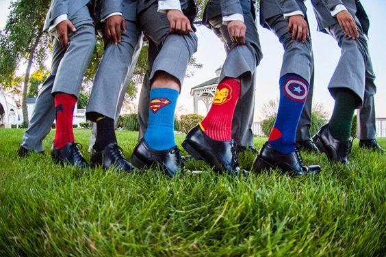 Super hero socks for the groom and groomsmen | Real Wedding: When Geeks Wed | Southern Maryland Weddings | Photos by Robin Shotola Photography #somdweddings #geekwedding
