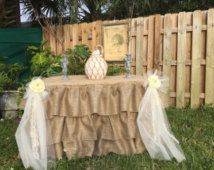 Ruffed burlap tablecloth, rustic elegant, Wedding Brand New Ruffed Ruffled Burlap Fitted Tablecloth -  Rectangular bride groom table,
