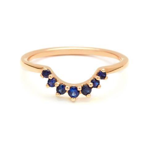 Grand Tiara Band Yellow Gold Blue Sapphire White Gold Blue Sapphire Diamond White