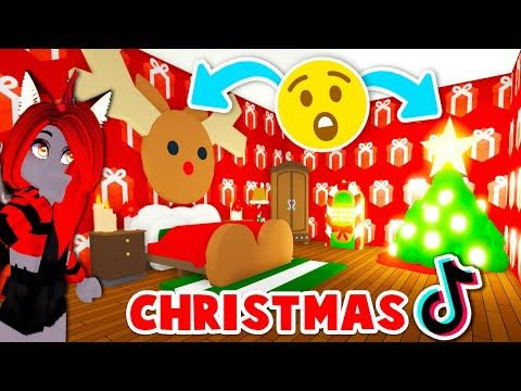 Creating A Christmas House With Tik Tok Hacks Only In Adopt Me Roblox Youtube Christmas House Roblox Crayon Box