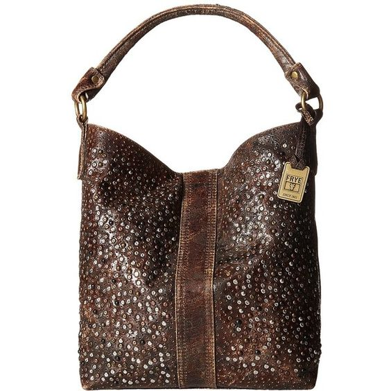 Frye Deborah Studded Hobo (840 AUD) ❤ liked on Polyvore featuring bags, handbags, shoulder bags, hobo handbags, frye handbags, studded purse, brown studded handbag and hobo purse