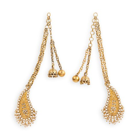 The Bell, Ball and Mango Earrings - Arnav & Co. Silver (92.5) with cultured pearls and crystals.