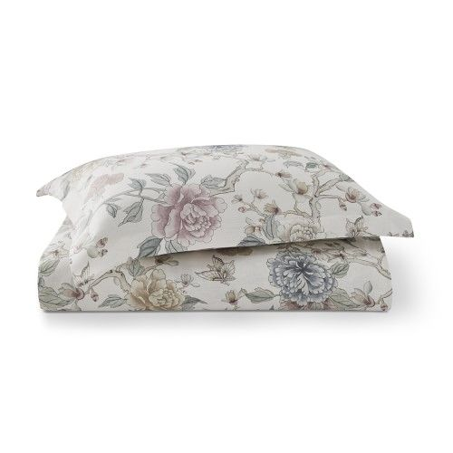 Aerin Wild Rose Printed Linen Bedding Sham Standard Ivory Bed Linens Luxury Linen Duvet Covers Linen Bedding