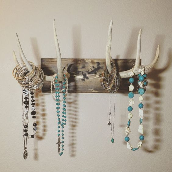 mounted antler jewelry holder antler jewelry by TurquoiseOwlDesign