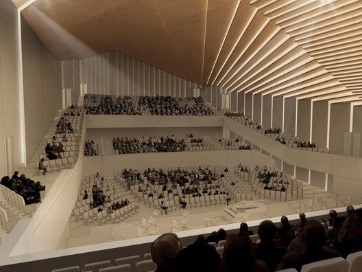 Gallery Of Award Winning Design Of Tokyo Music Hall Transforms Roof Into A Public Plaza 3 In 2020 Auditorium Design Gaudi Architecture Hall Interior