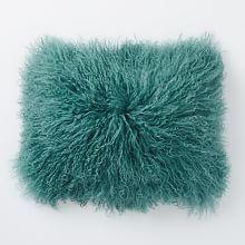 "Mongolian Lamb Pillow Cover - Peacock (12"" x 16"")"