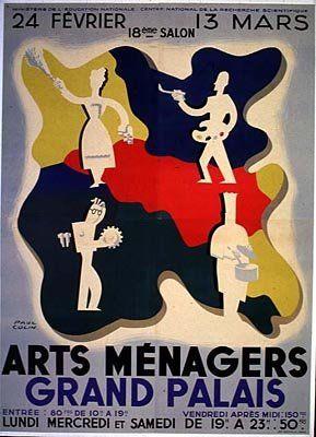 Poster by paul colin 1949 xviiie salon des arts m nagers paris affiches fran aises - Salon des arts creatifs paris ...