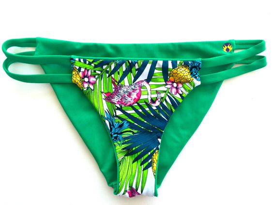 Reversible Double Strap Bikini Bottom - Green/Palm (Huntington)