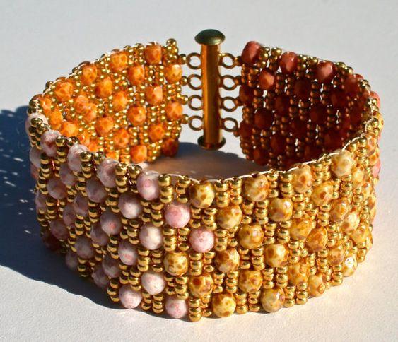 Shades of Pink Gold and Brown Cobblestone by SleepingCatsJewelry