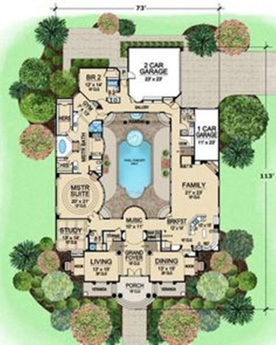 Ideas house plans and courtyards on pinterest for L shaped house plans with courtyard