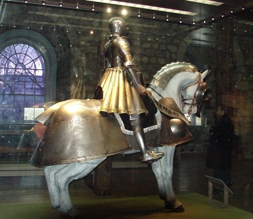 King Henry VIII's armour suit and horse armour, on display at the Tower of London.