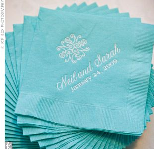 Blue Napkins Featured The Couples Signature Wedding Logo Sarah And Her Mom Designed Themselves Using A Template They Found Online