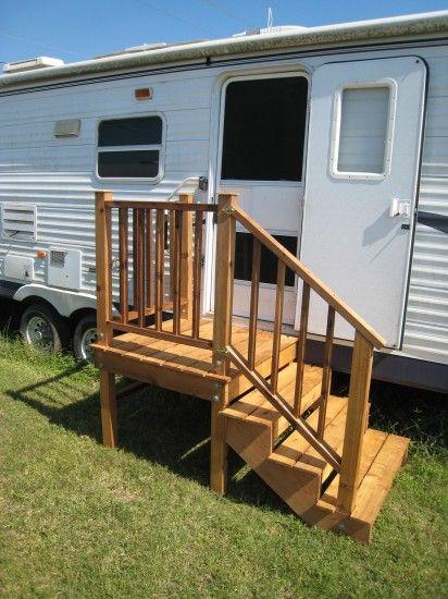Gallery rv wooden staircase inc fifth wheel stuff for Rv decks