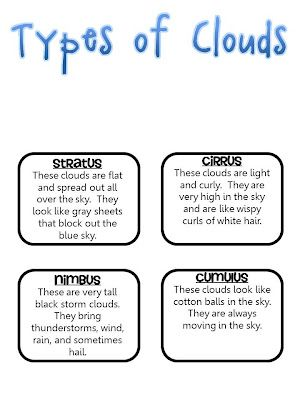 Printables Types Of Clouds Worksheet different types of notebooks and first grade weather on pinterest