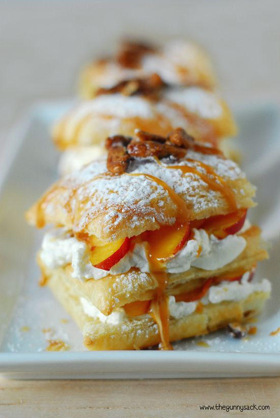 Peach Puff Pastry Napoleons with Maple Whipped Cream and Candied  Pecans