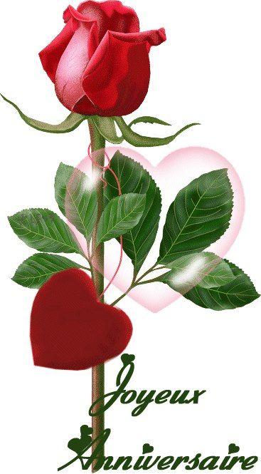Rose rouge avec un coeur pour vous: Joyeux Anniversaire: