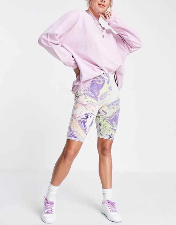 Weekday Stella exclusive organic blend cotton legging shorts in marble print