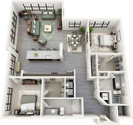 50 plans 3d d 39 appartement avec 2 chambres architecture - Huis idee ...