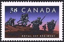 Canadian Postal Archives Database    Postal Administration: Canada     Title: Royal 22e Régiment     Denomination: 38¢     Date of Issue: 8 September 1989