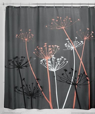 Loving this Gray & Coral Thistle Shower Curtain on #zulily! #zulilyfinds