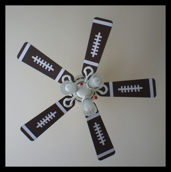 old fan made new for my son's sports themed bedroom :)