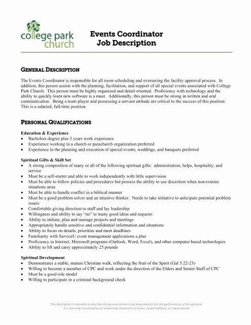 Event Coordinator Job Description Resume Inspirational Events Coordinator Job Descript In 2020 Event Coordinator Job Description Coordinator Job Event Coordinator Jobs
