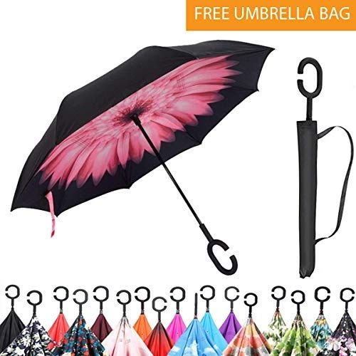 Reverse Open Folding Umbrellas with C Hook for Hanging on Points Original Deals Inverted Inside Out Umbrella Double Layer Inverted UV Protection Unique Windproof Umbrella Pink