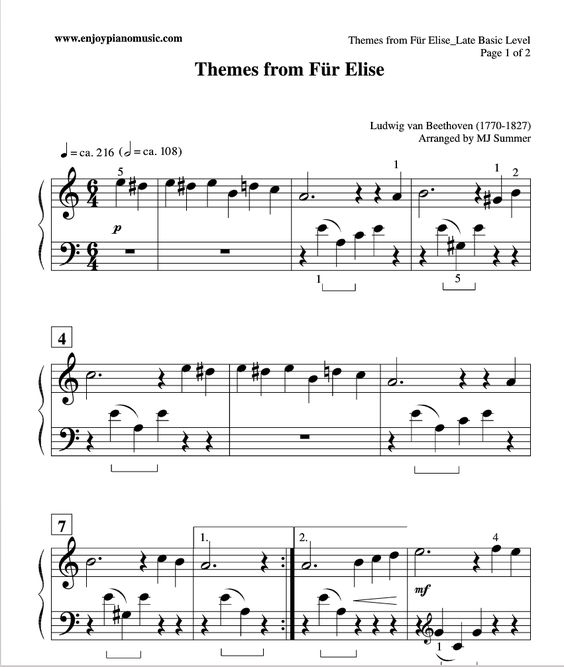 Easy Fur Elise Sheet Music For Kids Or Beginners