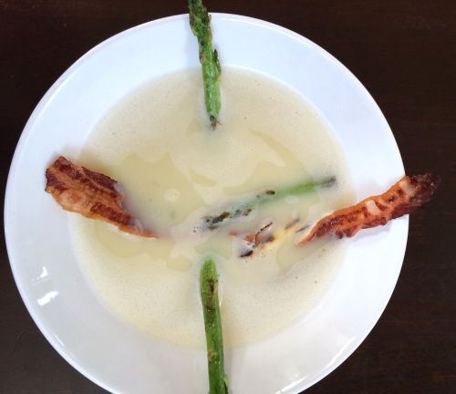 Soup of White Asparagus with Bacon and grilled Green Asparagus